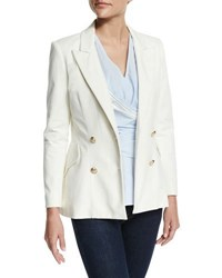 Derek Lam Double Breasted Stretch Blazer Soft White