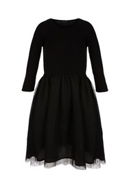 Morgan Knit And Tulle Dress Black