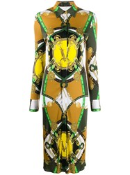 Versace Barocco Rodeo Print Shirt Dress Yellow