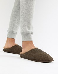Dunlop Herringbone Slip On Slipper Brown