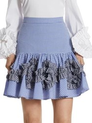 Alexis Daly Ruffle Gingham Cotton Skirt Blue Gingham