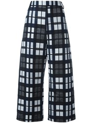 Ter Et Bantine Checked Cropped Trousers Women Cotton Polyamide Acetate Cupro 40 Black