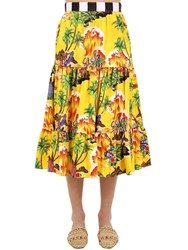 Stella Jean Printed Cotton Midi Skirt Yellow