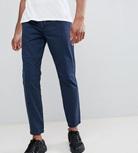 D Struct Tall Elastic Waist Cropped Chino Trousers Navy