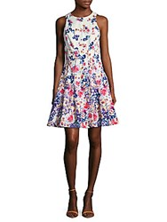 Maggy London Cotton Printed Fit And Flare Dress White Multi