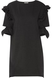 Steve J And Yoni P Cutout Ruffled Cotton Terry Mini Dress Black