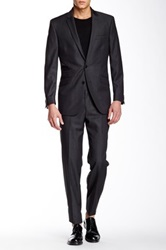 Ben Sherman Kings Plaid Notch Lapel Suit Gray