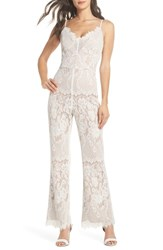 Harlyn Lace Jumpsuit White Nude