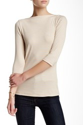 Bobeau 3 4 Sleeve Boatneck Stripe Tee White