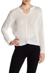 Inhabit Loose Chunky Knit Split Neck Sweater White