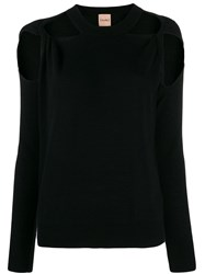 Nude Cut Out Crew. Neck Jumper Black
