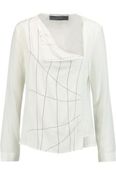 Roland Mouret Killerton Embroidered Silk Crepe Top White