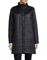 Eileen Fisher Quilted Long Sleeve Coat Black