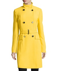 Versace Stand Collar Double Breasted Trench Coat