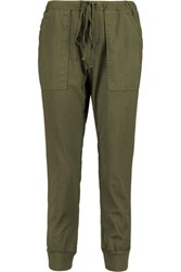 Velvet By Graham And Spencer Cotton Twill Tapered Pants Army Green