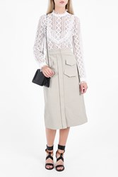 Vilshenko Women S Bona Button Down Midi Skirt Boutique1 Khaki