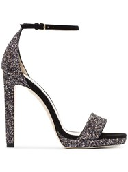 Jimmy Choo Black And Metallic Silver Misty 120 Leather Sandals