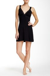 Fleurt Sheer Mesh And Lace Chemise Black