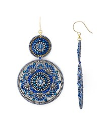 Miguel Ases Beaded Double Circle Drop Earrings Blue