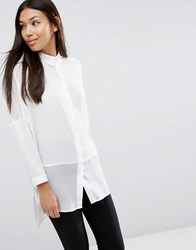 Asos Oversized Blouse With Sheer Inserts Ivory White