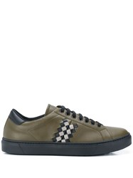 Bottega Veneta Checker Low Top Sneakers Green