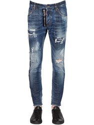 Dsquared 16Cm Zip Skater Distressed Stretch Jeans