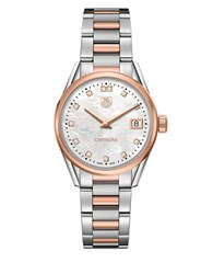 Tag Heuer Carrera Diamonds Steel And 18K Rose Gold Bracelet Watch Two Tone
