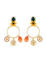 Dolce And Gabbana Charm Pendant Hoop Clip On Earrings Multicolour
