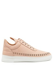 Filling Pieces Perforated Down Low Top Leather Trainers Nude