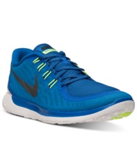 Nike Men's Free 5.0 Running Sneakers From Finish Line Game Royal Blk Neon Turq