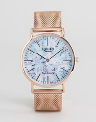 Reclaimed Vintage Marble Print Mesh Watch In Rose Gold Rose Gold