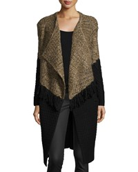 Thakoon Long Draped Front Colorblock Cardigan Brown Black