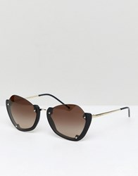 Emporio Armani Round Sunglasses With Half Frame Black