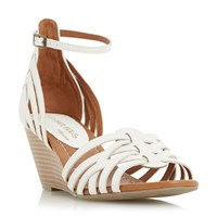 Head Over Heels Kruizer Two Part Strappy Wedge Sandals White