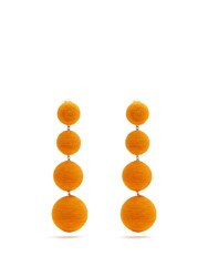 Rebecca De Ravenel Corded Silk Drop Clip On Earrings Orange