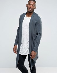 Asos Longline Waterfall Cardigan In Reverse Loopback Olive Green