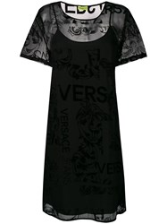 Versace Jeans Baroque Sheer Overlay Dress Black