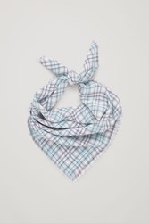 Cos Checked Silk Scarf Beige