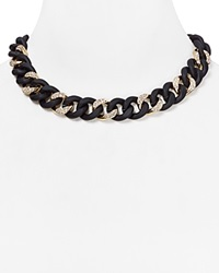 Abs By Allen Schwartz Pave Wrapped Chain Necklace 16 Gold Black