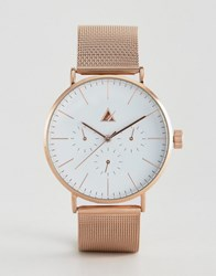 Asos Mesh Bracelet Watch In Rose Gold Multi