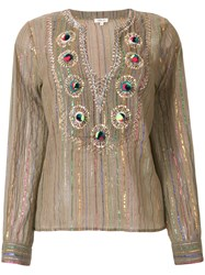 Manoush Lurex Striped Embroidered Blouse Brown