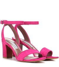 Tabitha Simmons Leticia 75 Suede Sandals Pink