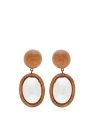 Rebecca De Ravenel Mirror Mirror Wooden Drop Earrings Brown