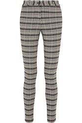 Victoria Beckham Checked Woven Skinny Pants Gray