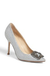 Manolo Blahnik Women's 'Hangisi' Jeweled Pump Silver