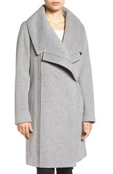 Badgley Mischka Women's 'Nikki' Leather Trim Oversize Coat Grey