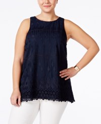 Alfani Plus Size Embroidered Shell Only At Macy's Modern Navy