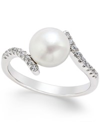 Macy's Cultured Freshwater Pearl 8Mm And Cubic Zirconia Bypass Ring In Sterling Silver