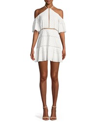 Red Carter Tomey Cold Shoulder Embroidered Dress White