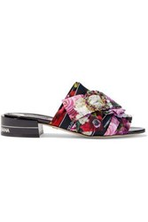 Dolce And Gabbana Woman Embellished Floral Print Satin Mules Black
